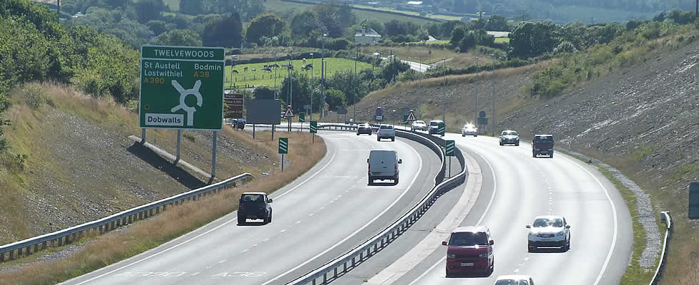 Dual Carriageway near Dobwalls on your journey by car to St Austell Bay in the south west